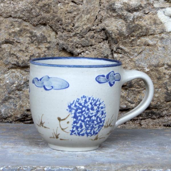 Keramik Kindertasse mit Igel handgemalt