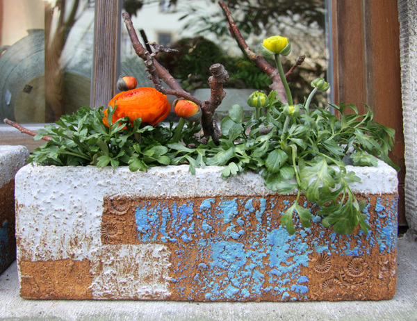 Keramik frostfest, Festerkästen, ca. 36x14cm, h ca. 14 cm, als Pflanztöpfe zum direkt bepflanzen oder als Übertopf, Dekor Santorin