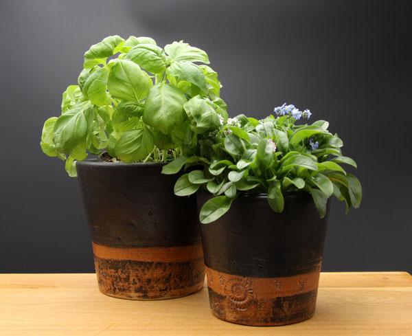 Keramik Übertopf, Dekor Schiefer, ø oben ca. 13,5 cm, h ca. 12 cm und ø ca. 16 cm, h ca. 14 cm