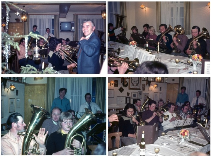 """Weihnachtsfeier im Gasthaus Ende der 60er Jahre im Gasthaus """"Zum Fässel"""" (Quelle: Annerose Weigel)"""