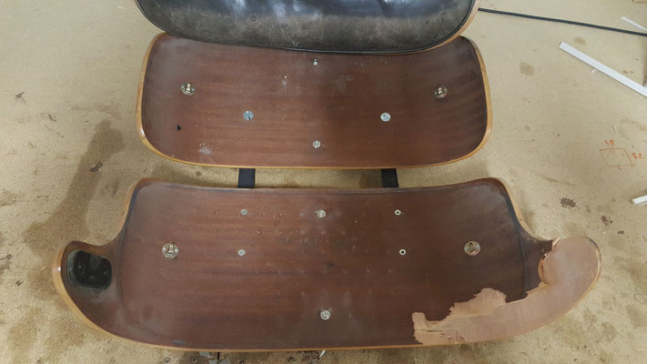 Coque d'un fauteuil Lounge Eames en réparation