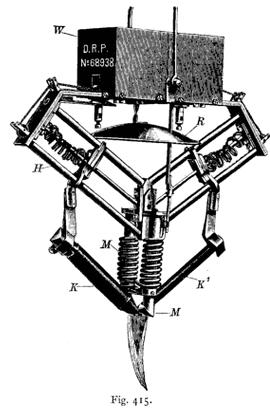 Für größere Arbeiten bestimmter Apparat: K und K' Kohlestäbe, M Elektromagnete