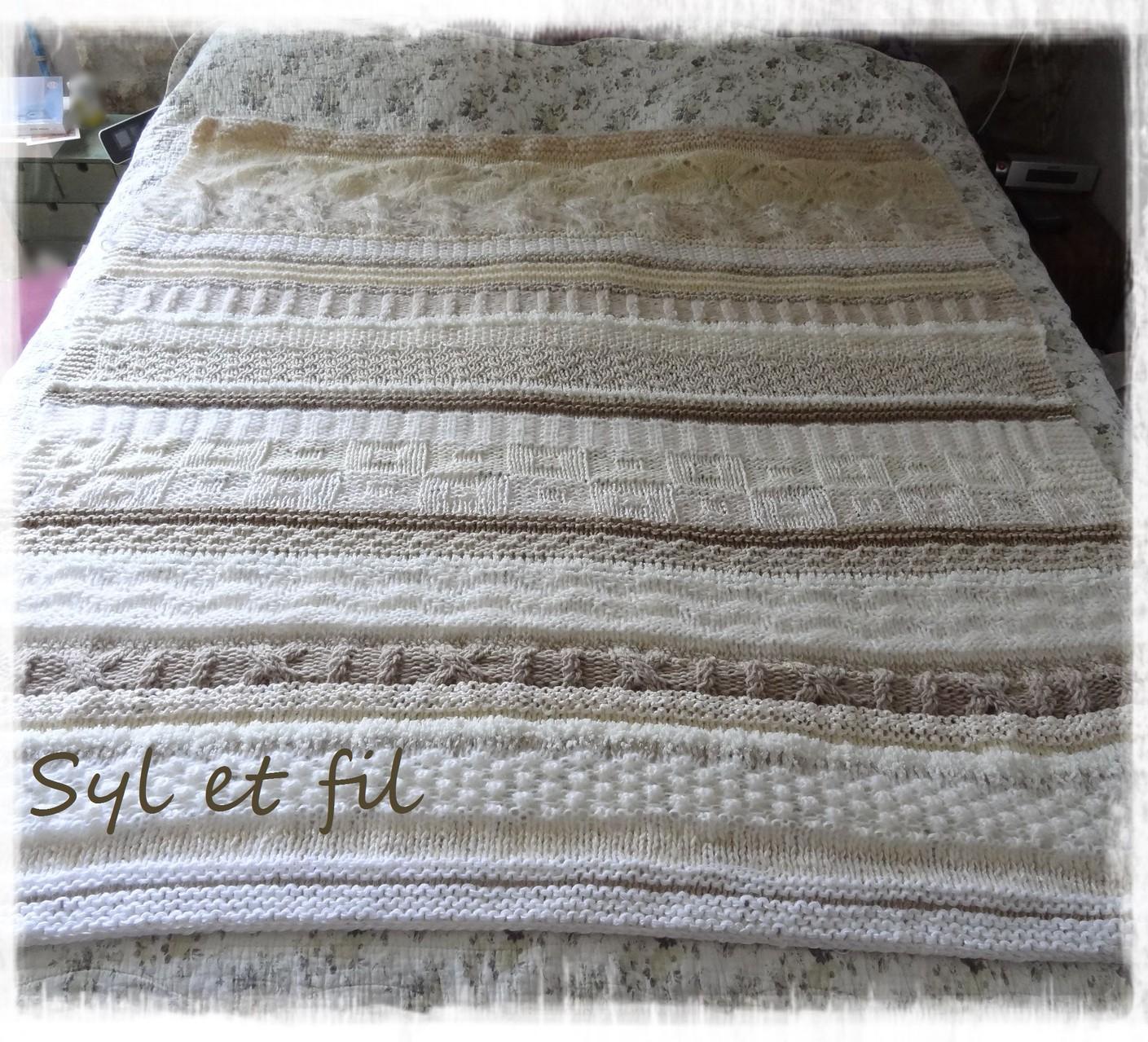 Couverture plaid tricotée main