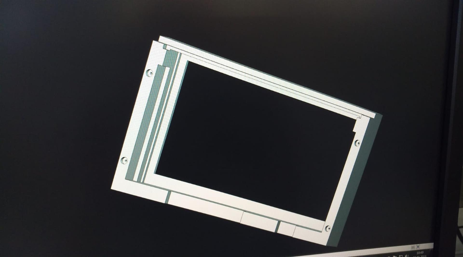 3D-Simulation der Monitor-Einhausung.
