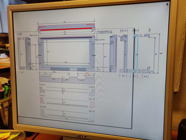 Konstruktionszeichnung für die neue Monitor-Einhausung.