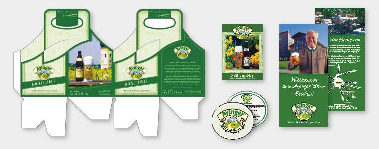 Brauerei Aying, Four Pack, Tischaufsteller, Bierdeckel, Flyer