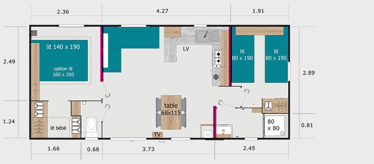 Exemple de mobil home 2 chambres en location au camping