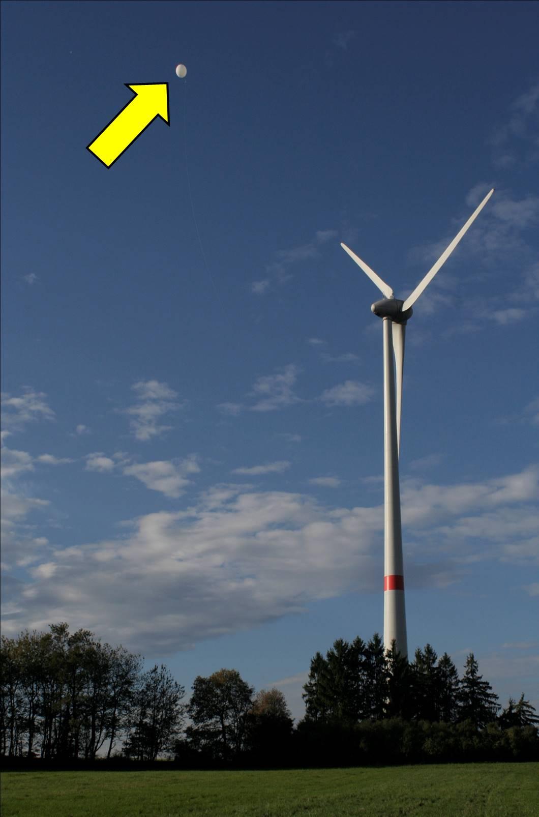 Ballon-Untersuchung in einem Windpark