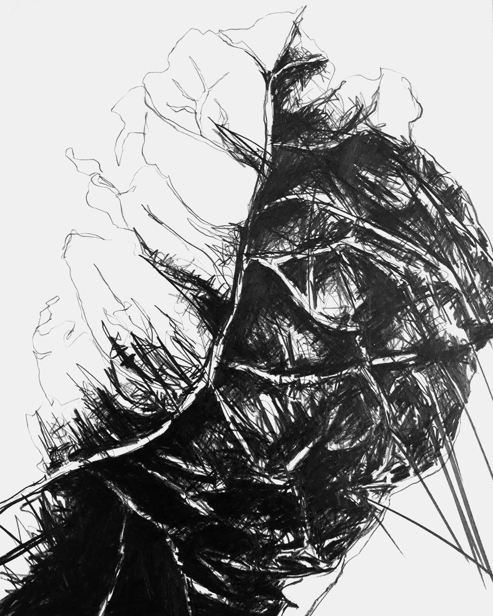 Serie GRAFIK AUS DORTMUND 1, monochrome Grafit Zeichnung Thomas Autering