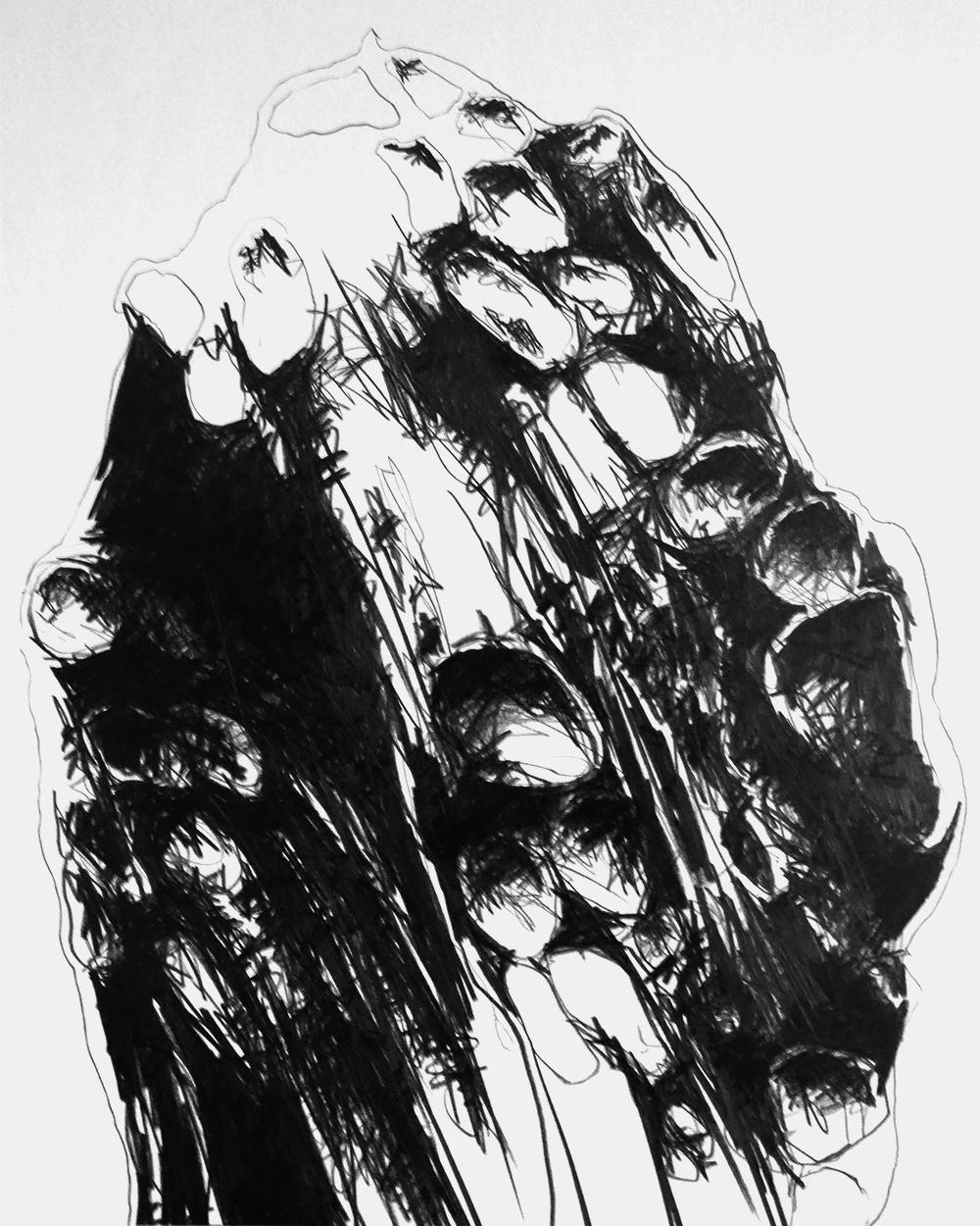 Serie GRAFIK AUS DORTMUND 2, monochrome Grafit Zeichnung Thomas Autering