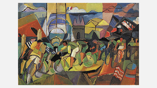 """Fälscher W.Beltracchi, imitiert André Lothe, """"course cycliste à Bordeaux"""" Öl & Sand /Lw. 64,8x 120,4cm"""
