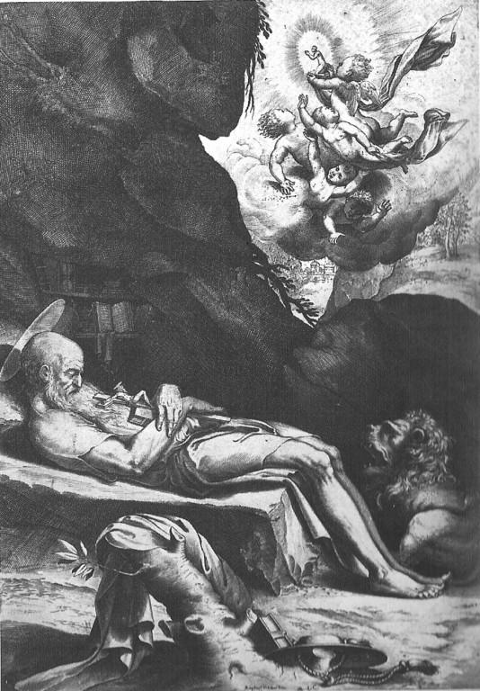 Lodovico Ciamberlano, La morte di San Girolamo, 1614 Stich nach Pordenone?
