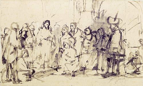 Rembrandt , Rohrfeder & Pinsel, br.Tinte laviert, graph.Smgl.Walraff-R.Mus. Köln