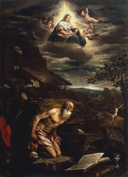 Jacopo Bassano (1510-1592), Hieronymus und Erscheinung der Madonna