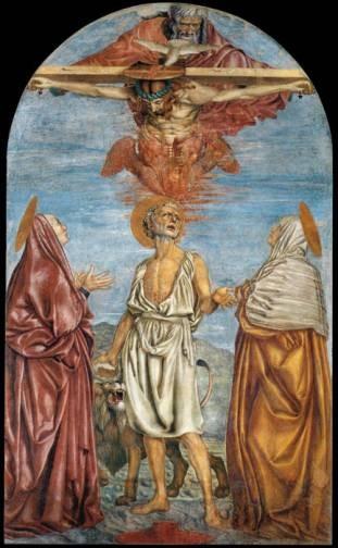 Andrea del Castagno (1423-1457), Trinità con tre Santi