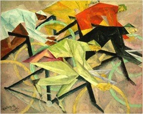 Lyonel Feininger, The bicycle race 1912 Nat.Gall.Washington, Öl/Lw. 80,3x100,3cm