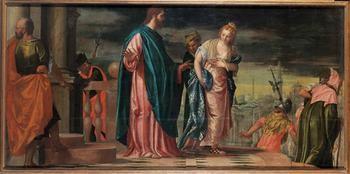 Werkstatt Veronese (Carlo Caliari? 1570-1596) Venedig um 1585 (Lw.143x288cm)
