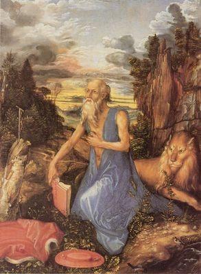 Albrecht Dürer (1471-1528), Hieronymus in der Wüste 1497/98, Cambridge, Coll Bacon