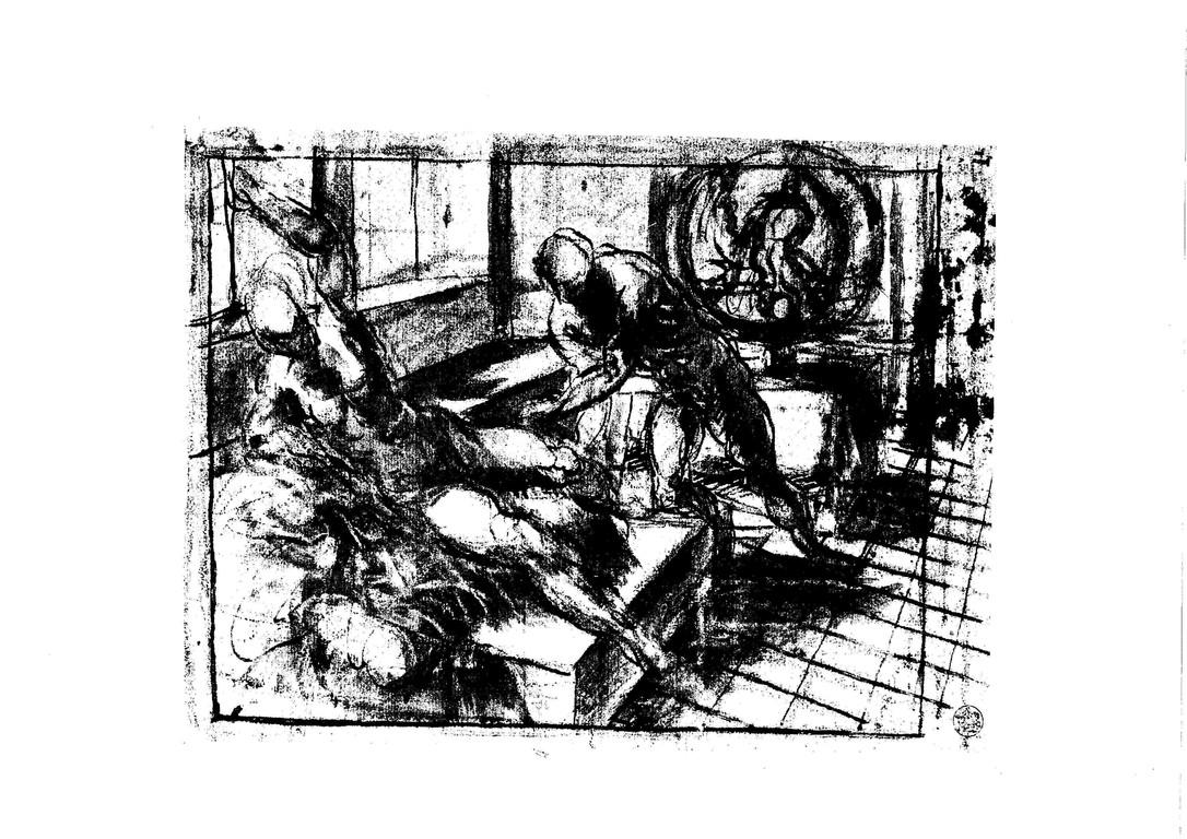 Tintoretto, Venus und Vulkan, Zeichnung Berlin (1)