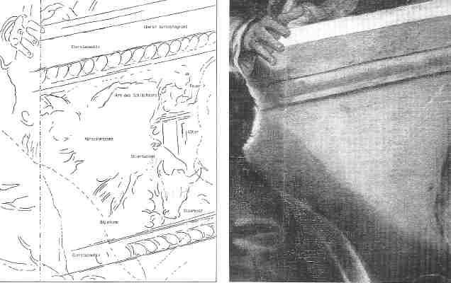 Bamberg: Sarkophag-Details: Stieropfer (Radiographie-umzeichnung)