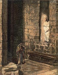 James Tissot(Nantes1836-1902 Buillons) Jesus und die Sünderin, Aquarell 1886-96