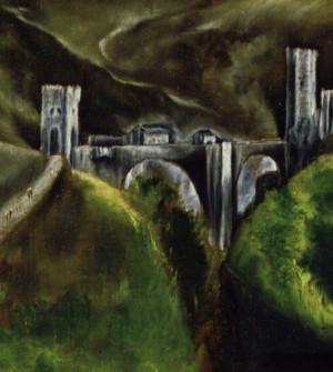 Detail: Alcantara-Brücke mit den Brückentürmen, links Wanderer