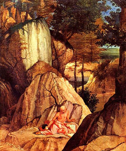 Lorenzo Lotto (1480-1556), San Girolamo nel deserto, ca 1500, Paris, Louvre