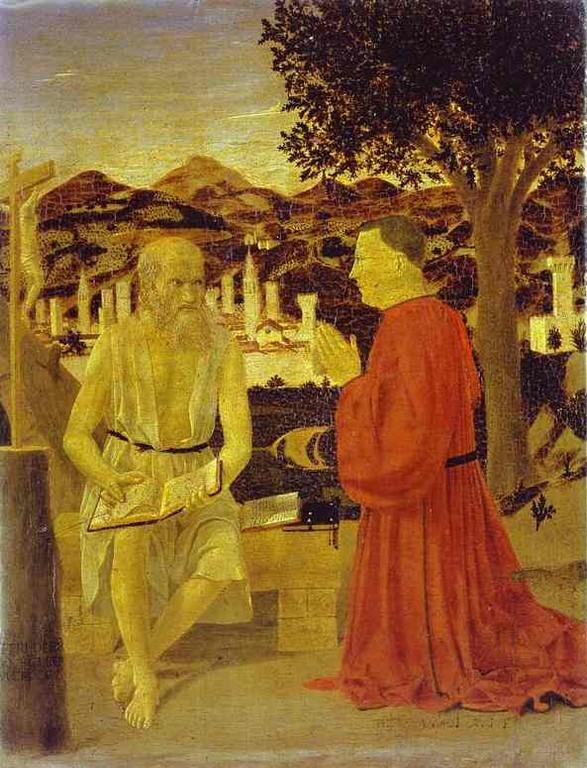 Piero della Francesca (1416-1492), Hieronymus und Stifter 1448/50, Venedig Gall.d.Accademia