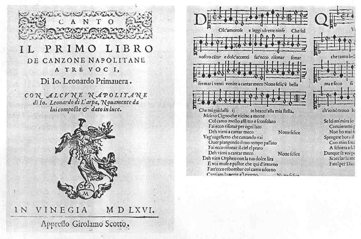 Partitur der anonymen Napolitana (Ed.L.Primavera 1566 bei Scotto) Vorschlag Colin Slim 1985