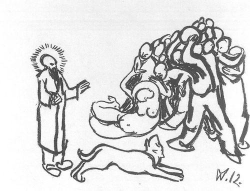 Wilhelm Morgner (1891-1917, dt.Expressionist) 1912 Kreide/Karton 26,5x36,5cm<Soest,