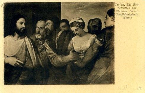 Tizians Adultera in Wien vor der Restaurierung (Postkarte)