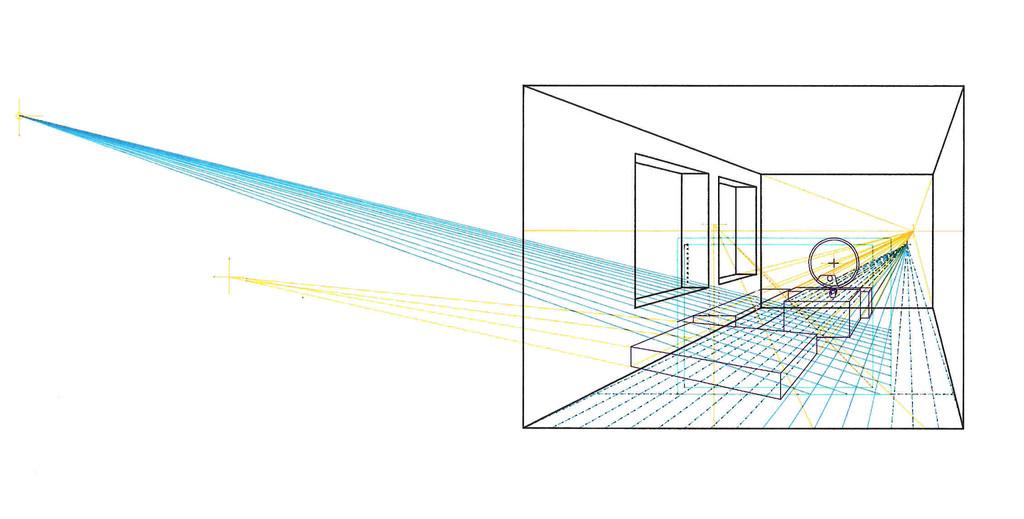 Raumperspektive der Zeichnung