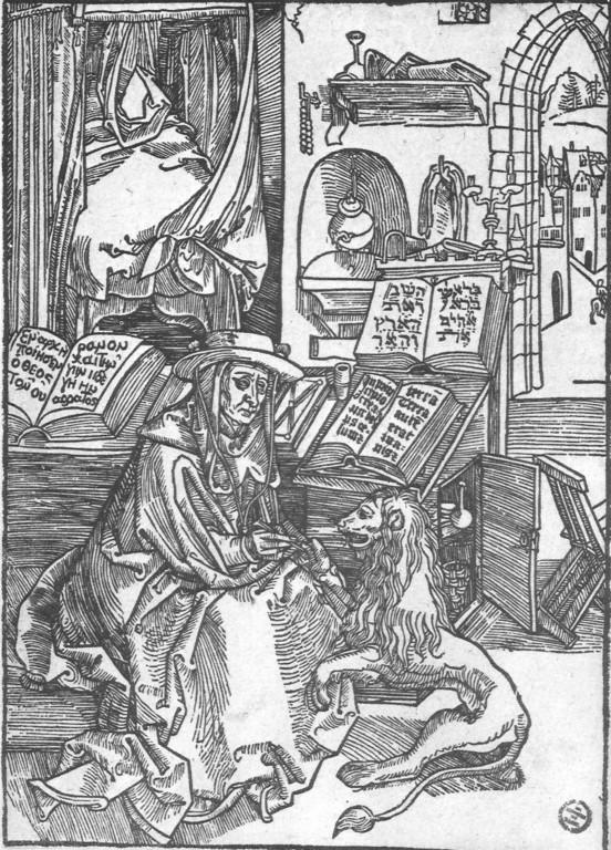 Albrecht Dürer, Hieronymus im Gehäus 1493: Genesis 1,1 dreisprachig