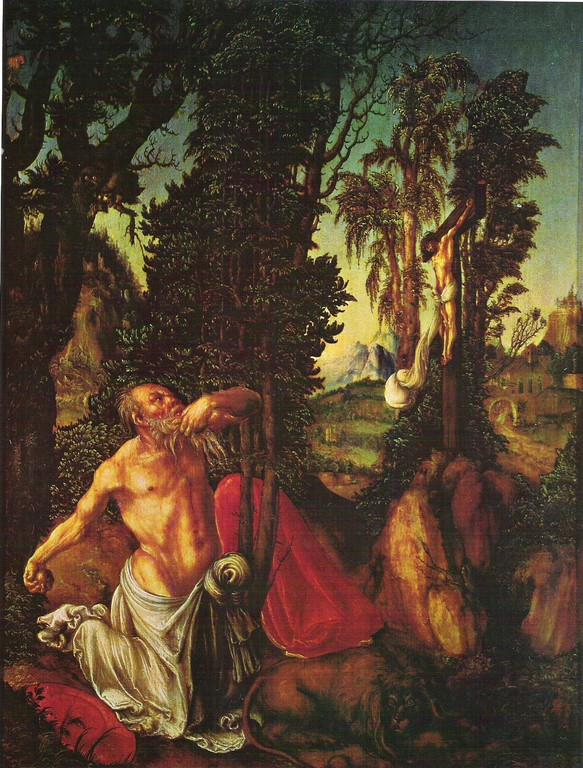 Lukas Cranach um 1500, büssender Hieronymus, Öl/Holz 55x41, Wien KHM