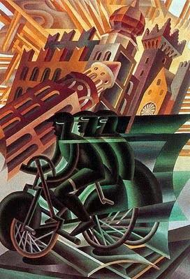 Fortunato Depero, il ciclista attraversa la città 1945