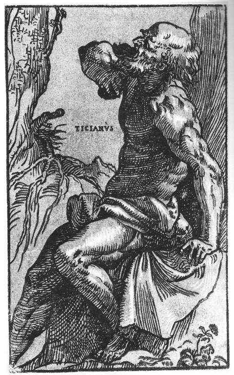 Ugo da Carpi & Tizian, Hieronymus, Clairobscureschnitt zw.1515 und 1518