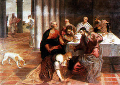 Jacopo Tintoretto, Magdalenas Salbung Jesu, Escorial (Lw.145x205cm): Erstaunensgestus Christi