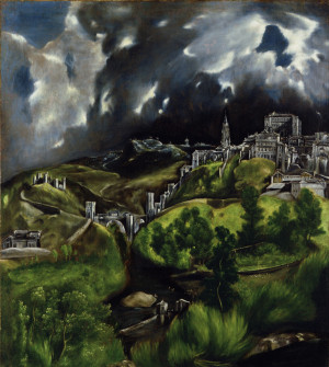 Dominikos Theotocopulos, El Greco (1541-1614) Toledo im Gewitter; Lw.121,3x108,6cm New York, Metr.Mus.