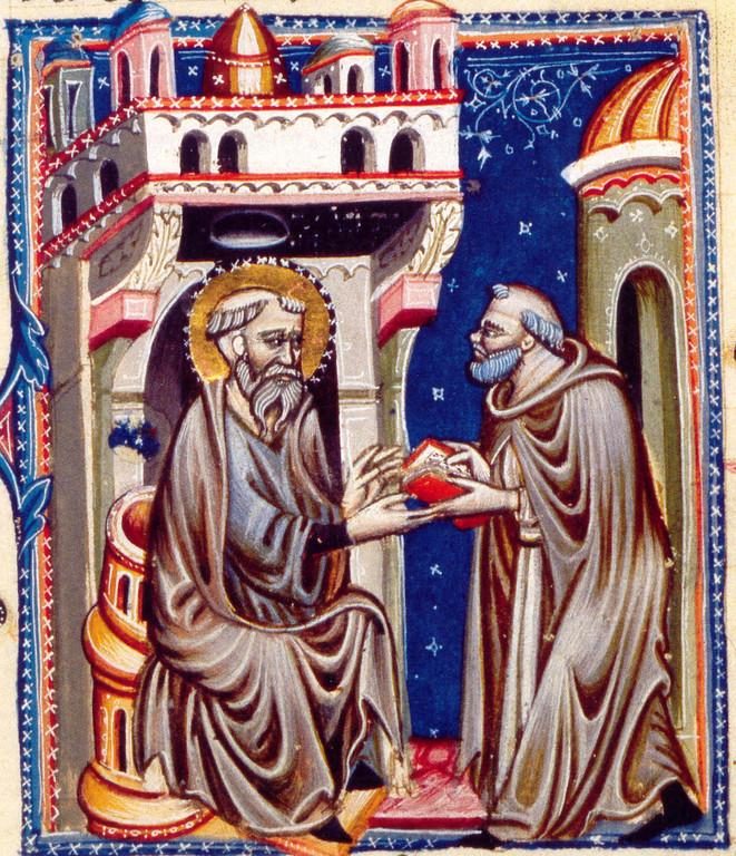 Hieronymus-Miniatur, Titelblatt, Neapel um 1300