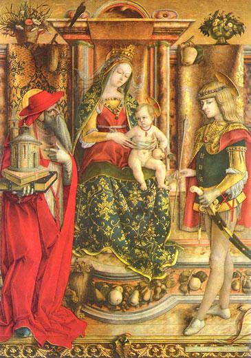 Carlo Crivelli (1430/5- 1495/1500), Madonna e Santi Odoni-Altar 1490, London NG