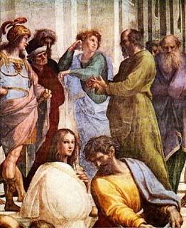 Raphael, Schule von Athen, Stanza della Segnatura 1509-10; Sokrates repräsentiert die Dialektik