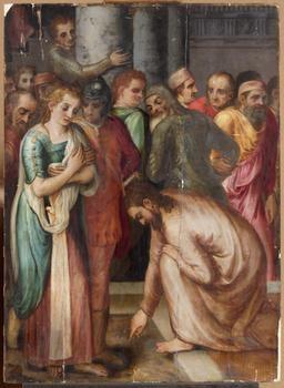 "Frans de Vriendt, gen. Floris (1519/20-1570 Antwerpen),""1553"", Lw.114,5x83,3cm, sign."