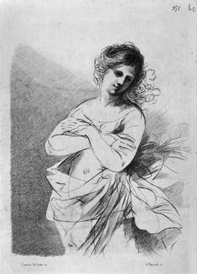 Adam v.Bartsch(Wien 1757-1821) Faksimilestich n. Studie Guercinos zur Sünderin 28,3x19,5cm