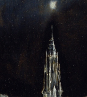 Detail: Kathedralenturm mit sternartigem Lichtpunkt darüber