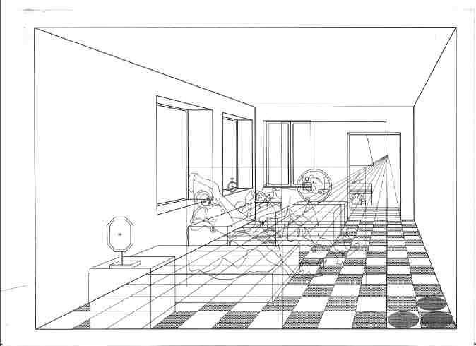 idem 2, perspektivische Umzeichnung CAD