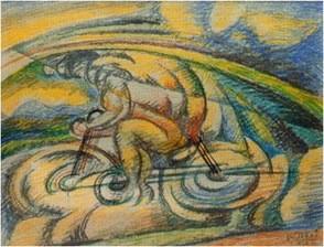 Gerardo Dottori, ciclista 1916, Aquarell 29x44cm