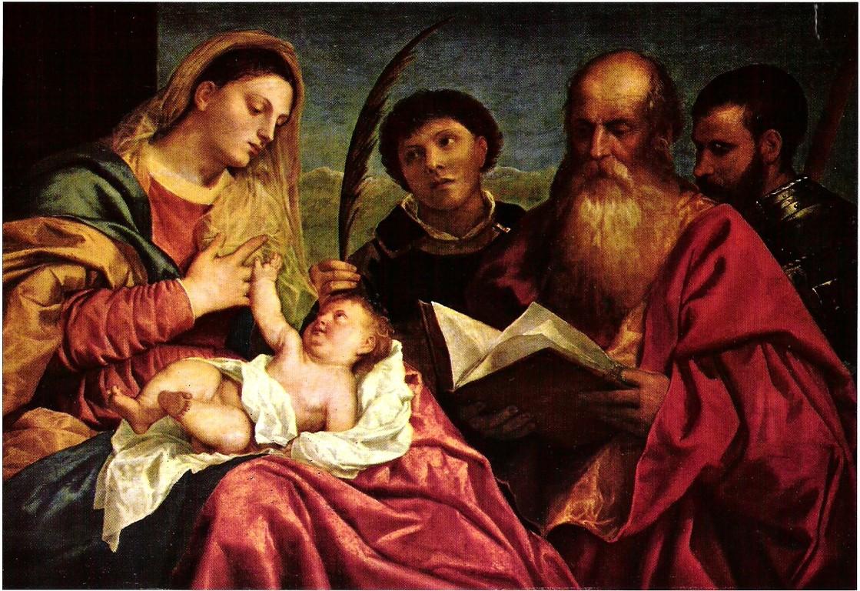 Tizian um 1520, Madonna mit Stefan, Hieronymus und Maurizius (Replik? Wien KHM