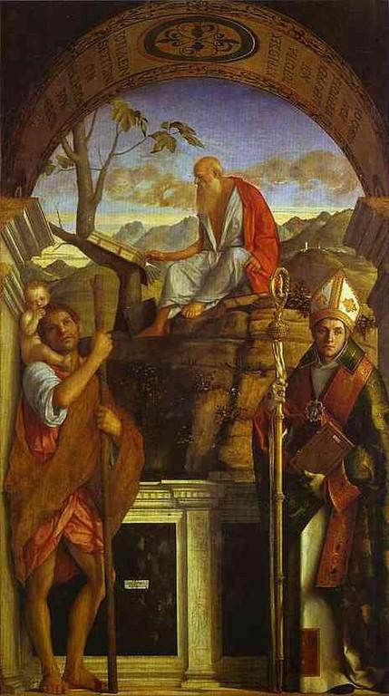 Giovanni Bellini (1427-1516), Santi Cristoforo, Girolamo e Agostino, 1513, Venedig San Giovanni Crisostomo