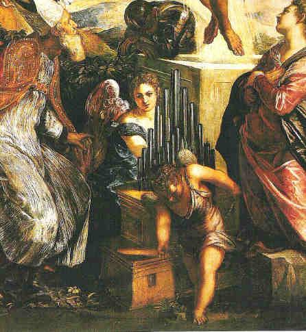 "Auferstehung, San Cassiano, Detail: ""Wind-Engel"" an Portativ-Orgel"