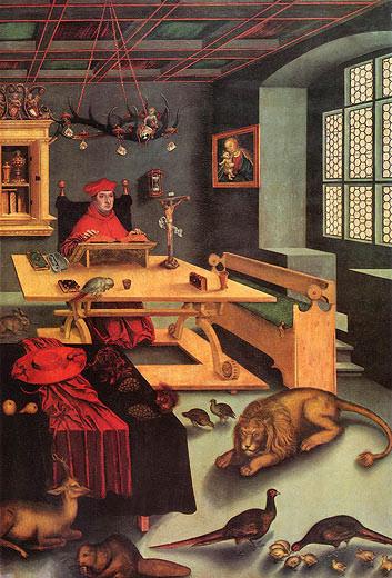 Cranach d.Ä.(1472-1553), Kardinal Albrecht v.Brandenburg als Hieronymus 1526,Sarasota Ringling Mus.
